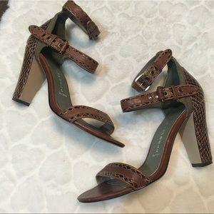 Jeffrey Campbell snakeskin ankle strap chunky heel